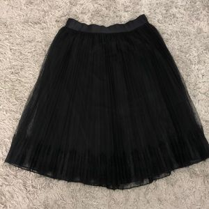 Express Black Lace Pleated Skirt